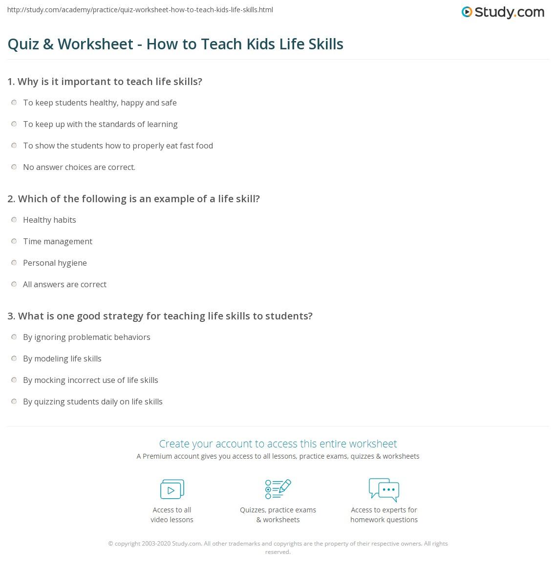 hight resolution of Quiz \u0026 Worksheet - How to Teach Kids Life Skills   Study.com