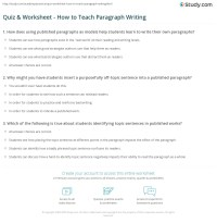 Quiz & Worksheet - How to Teach Paragraph Writing | Study.com