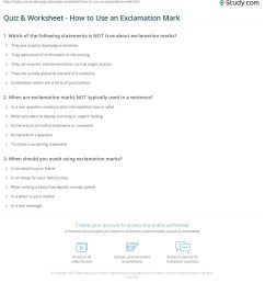 Quiz \u0026 Worksheet - How to Use an Exclamation Mark   Study.com [ 1241 x 1140 Pixel ]