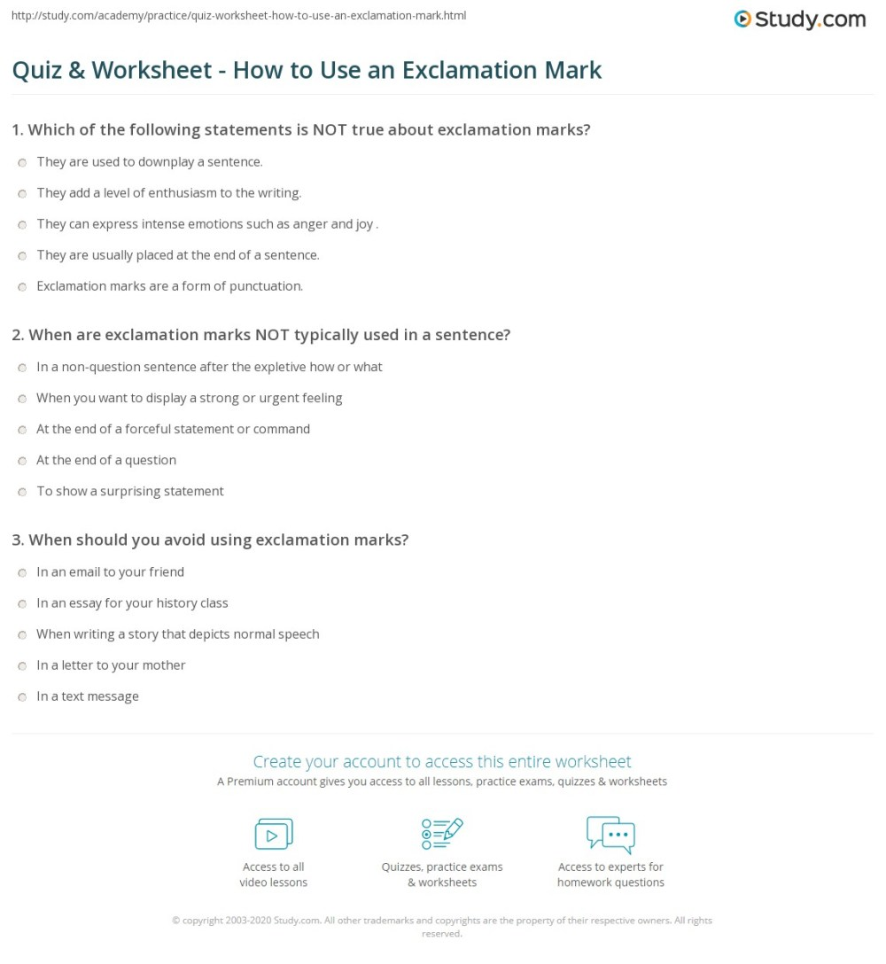 medium resolution of Quiz \u0026 Worksheet - How to Use an Exclamation Mark   Study.com