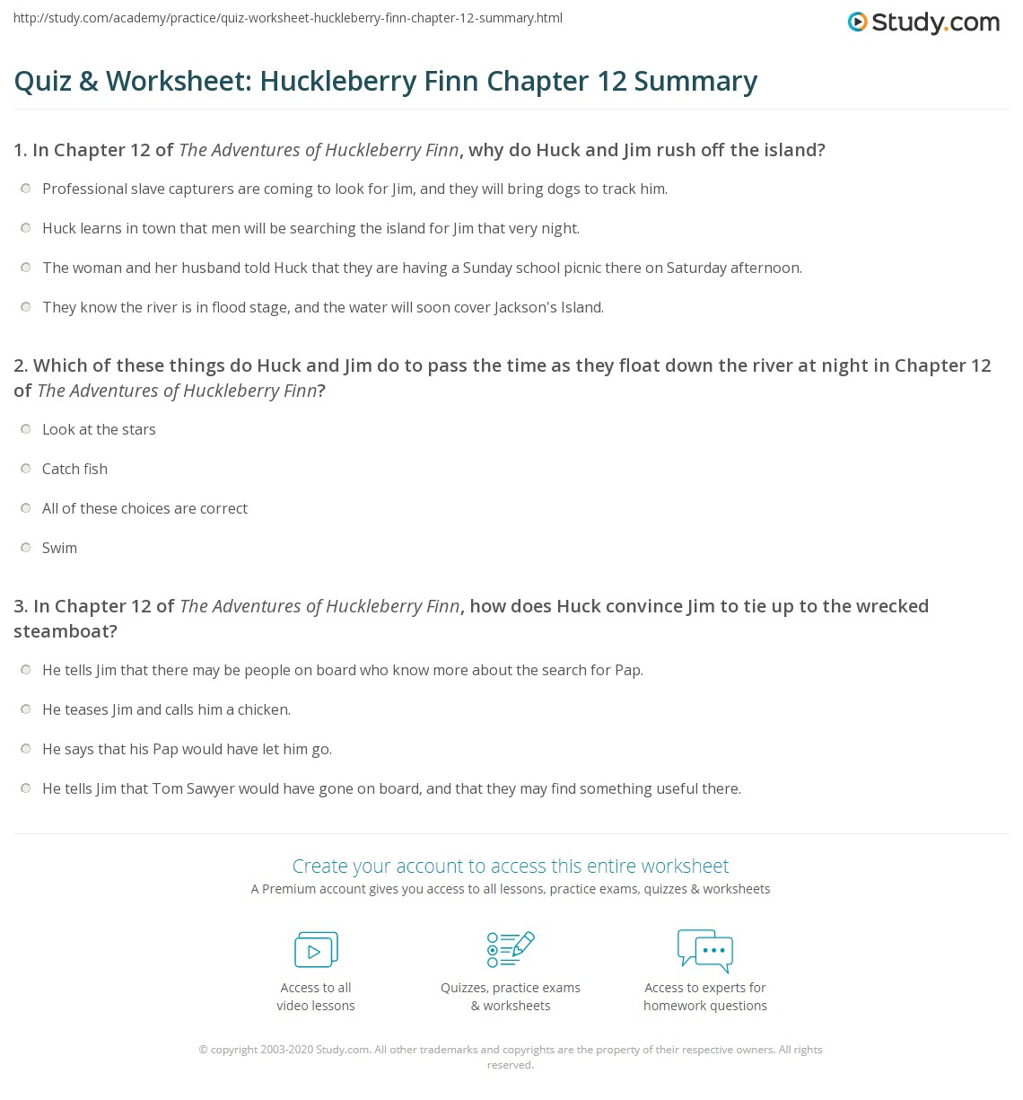 Quiz Amp Worksheet Huckleberry Finn Chapter 12 Summary