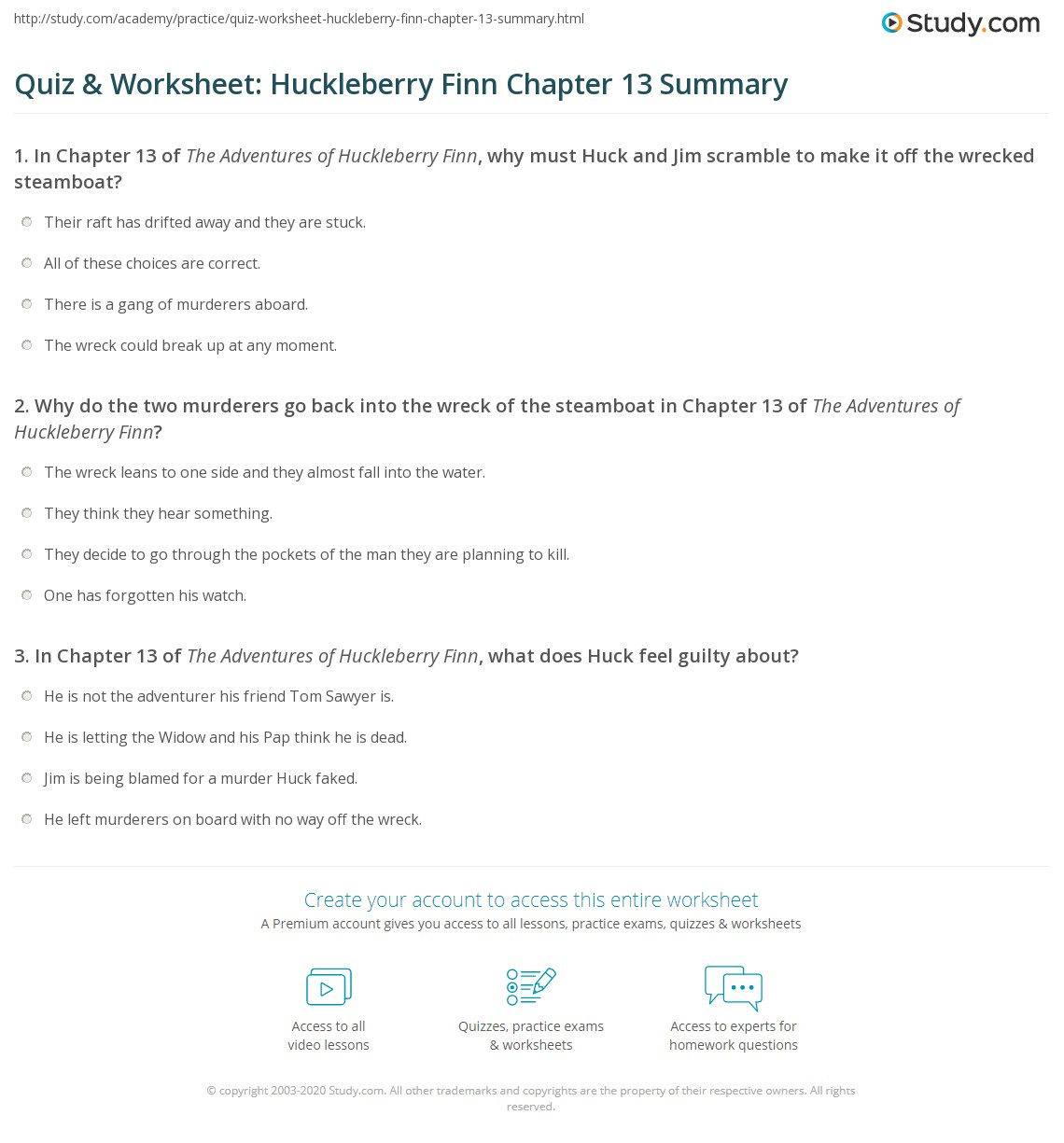 Quiz Amp Worksheet Huckleberry Finn Chapter 13 Summary