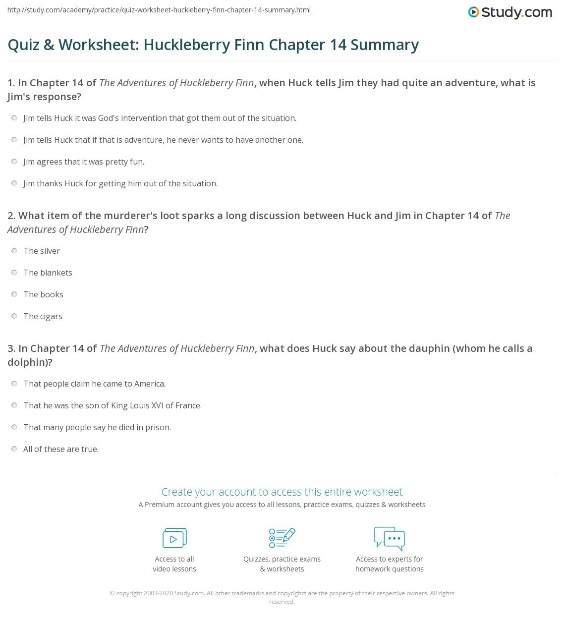 Quiz Amp Worksheet Huckleberry Finn Chapter 14 Summary