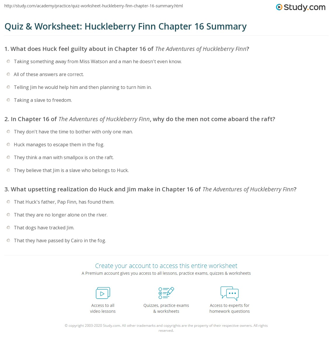 Quiz Amp Worksheet Huckleberry Finn Chapter 16 Summary