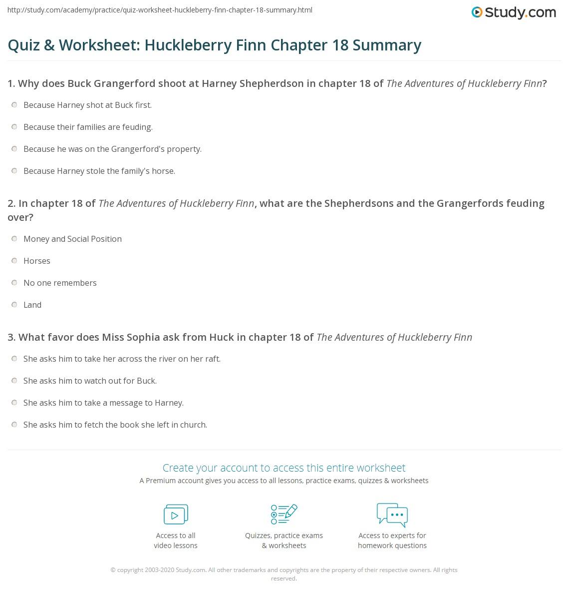 Quiz Amp Worksheet Huckleberry Finn Chapter 18 Summary