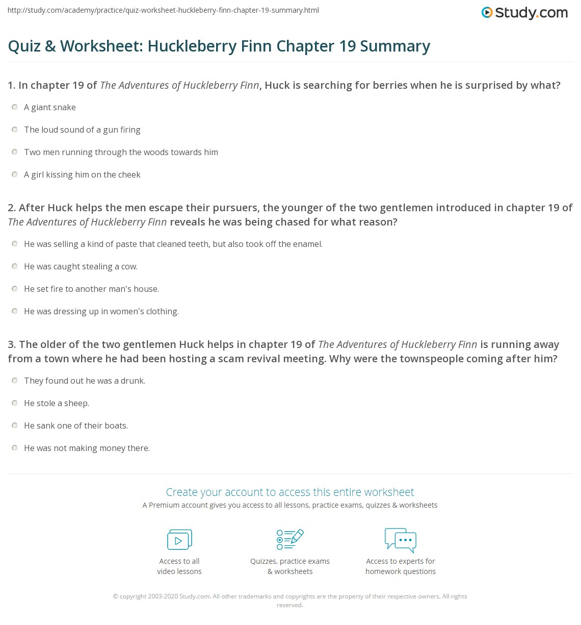 Quiz Amp Worksheet Huckleberry Finn Chapter 19 Summary
