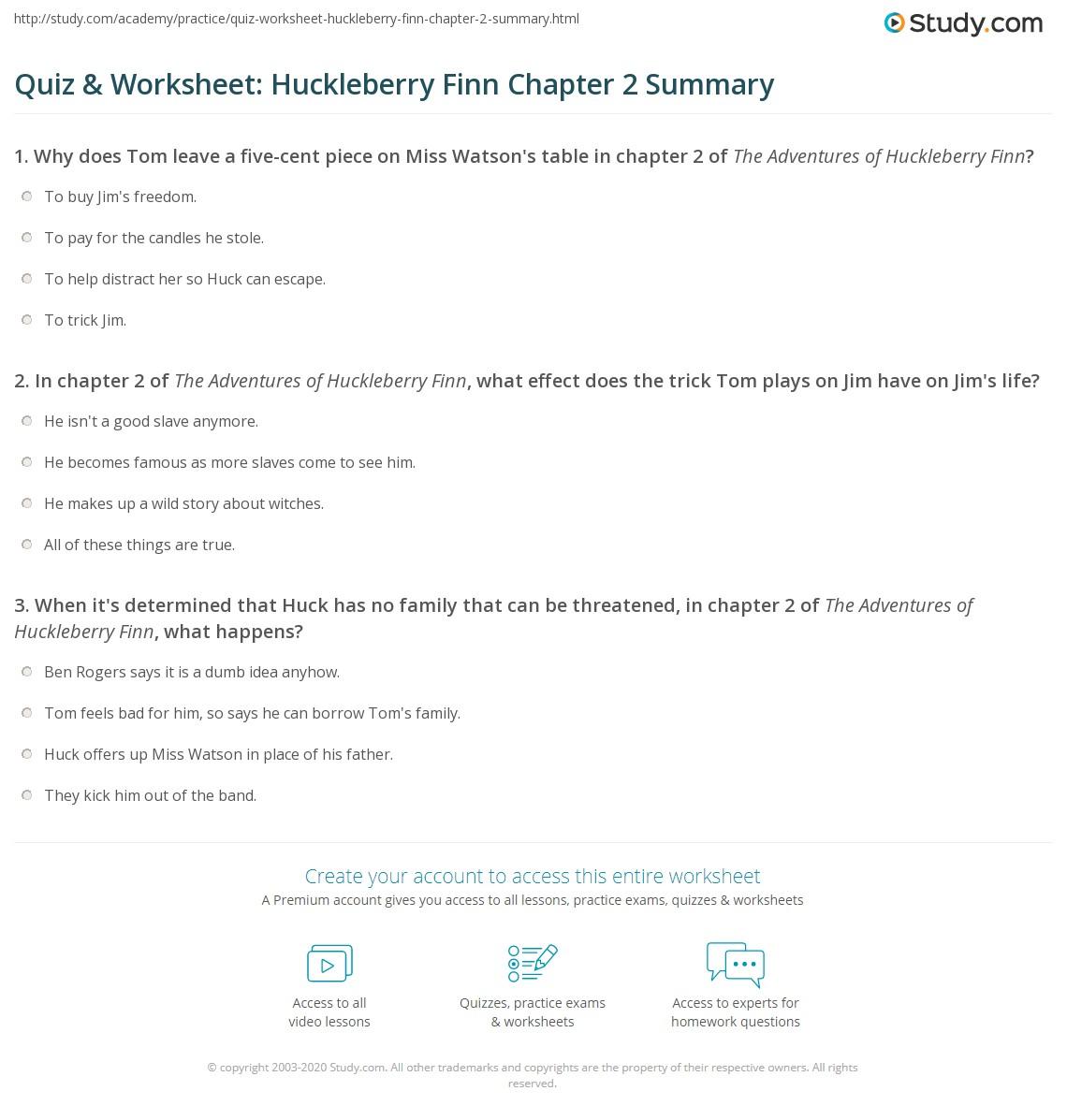 Quiz Amp Worksheet Huckleberry Finn Chapter 2 Summary