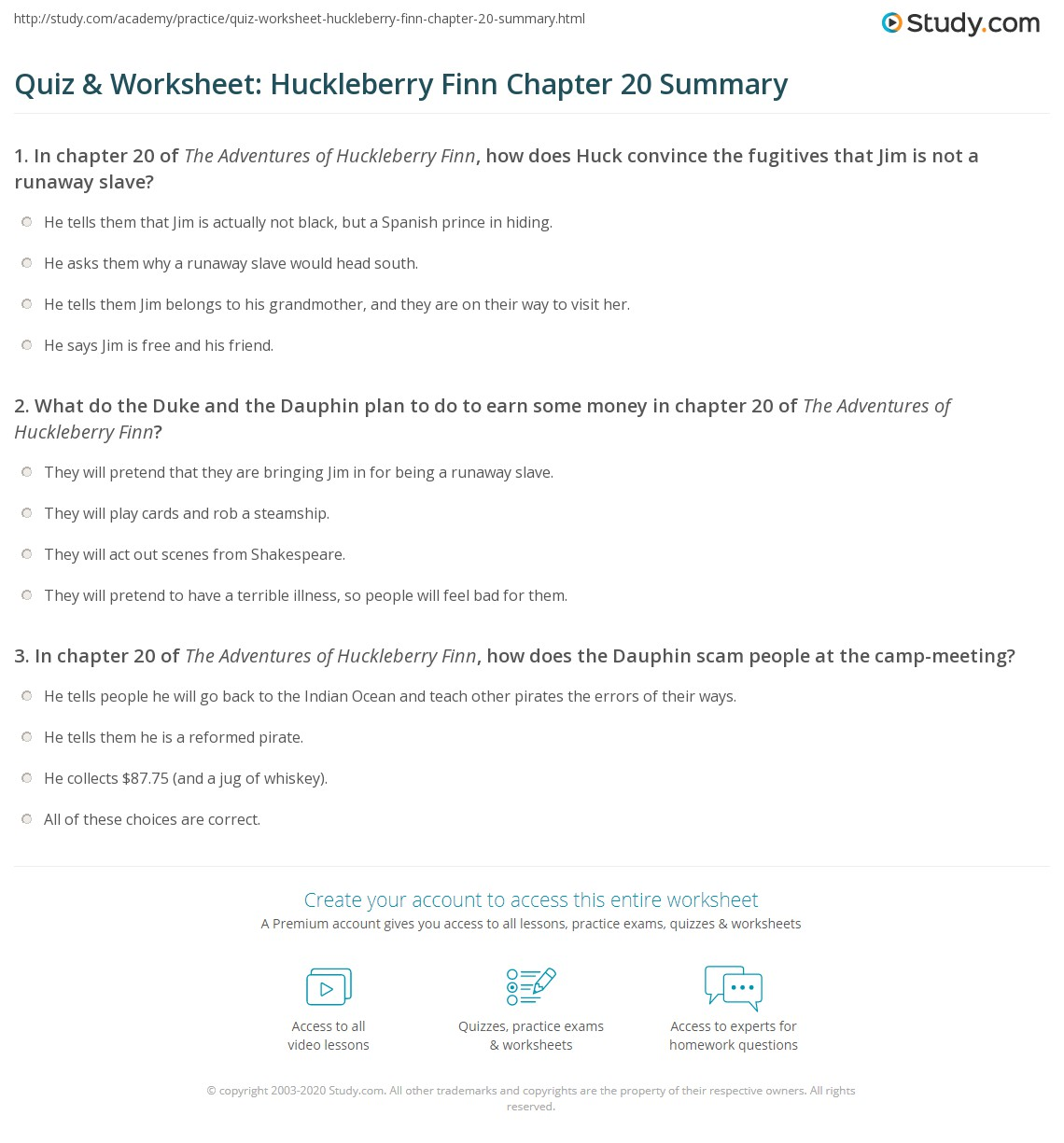 Quiz Amp Worksheet Huckleberry Finn Chapter 20 Summary