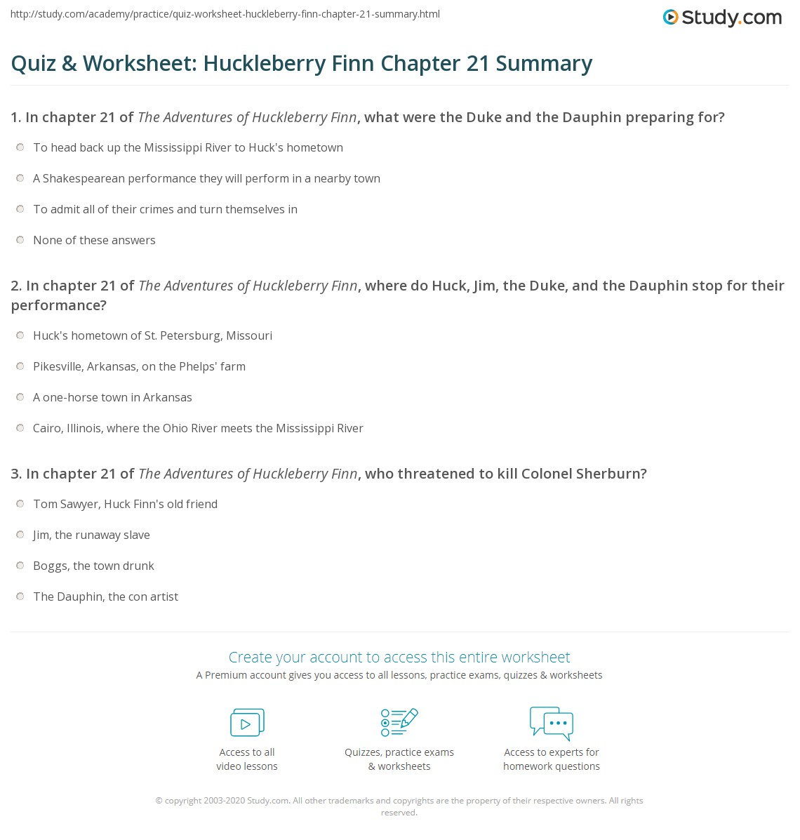 Quiz Amp Worksheet Huckleberry Finn Chapter 21 Summary