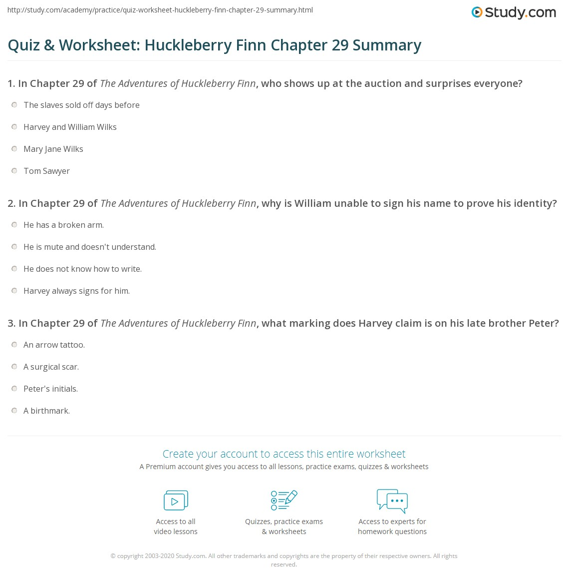 Quiz Amp Worksheet Huckleberry Finn Chapter 29 Summary