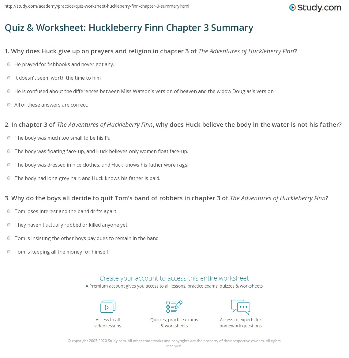 Quiz Amp Worksheet Huckleberry Finn Chapter 3 Summary