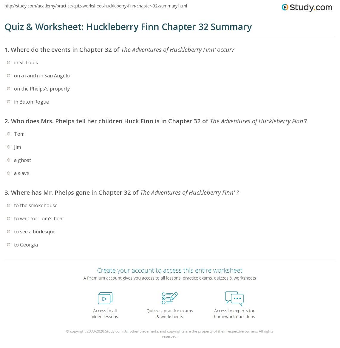 Quiz Amp Worksheet Huckleberry Finn Chapter 32 Summary