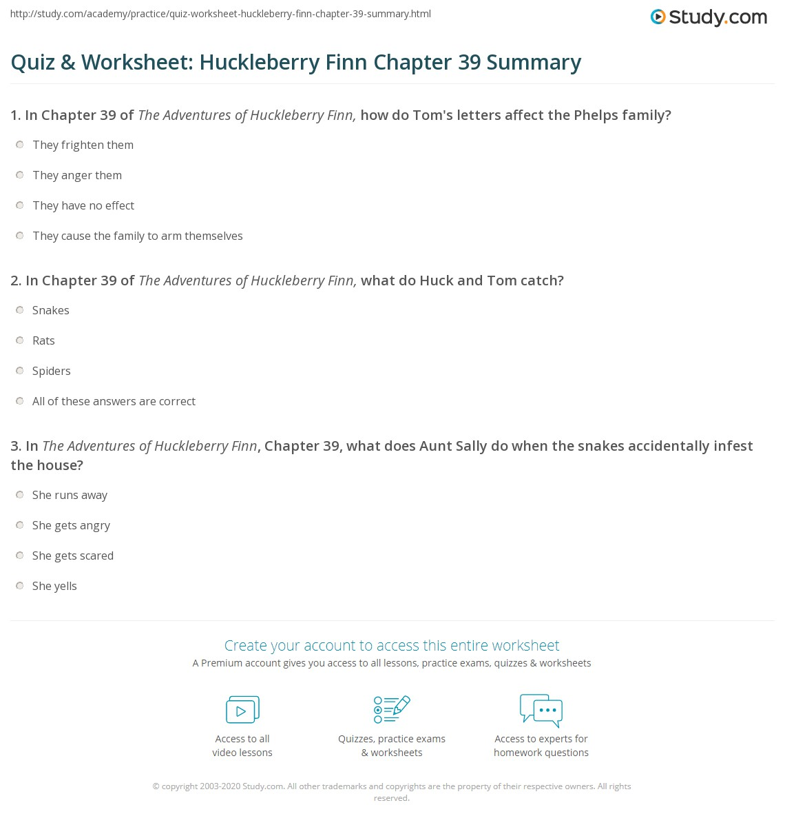 Quiz Amp Worksheet Huckleberry Finn Chapter 39 Summary