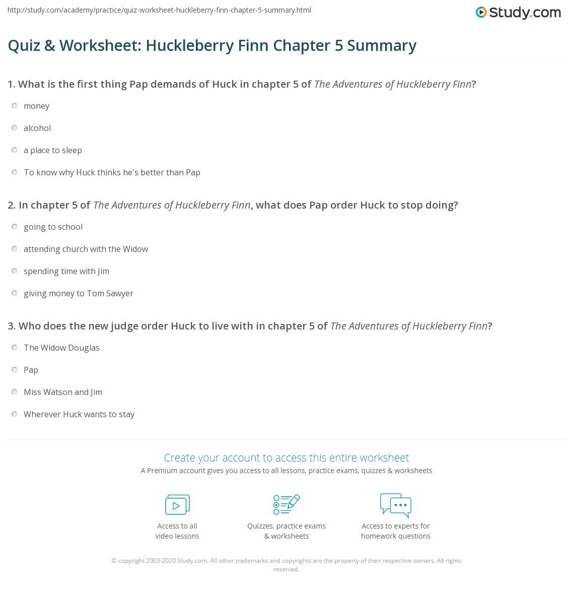 Quiz Amp Worksheet Huckleberry Finn Chapter 5 Summary