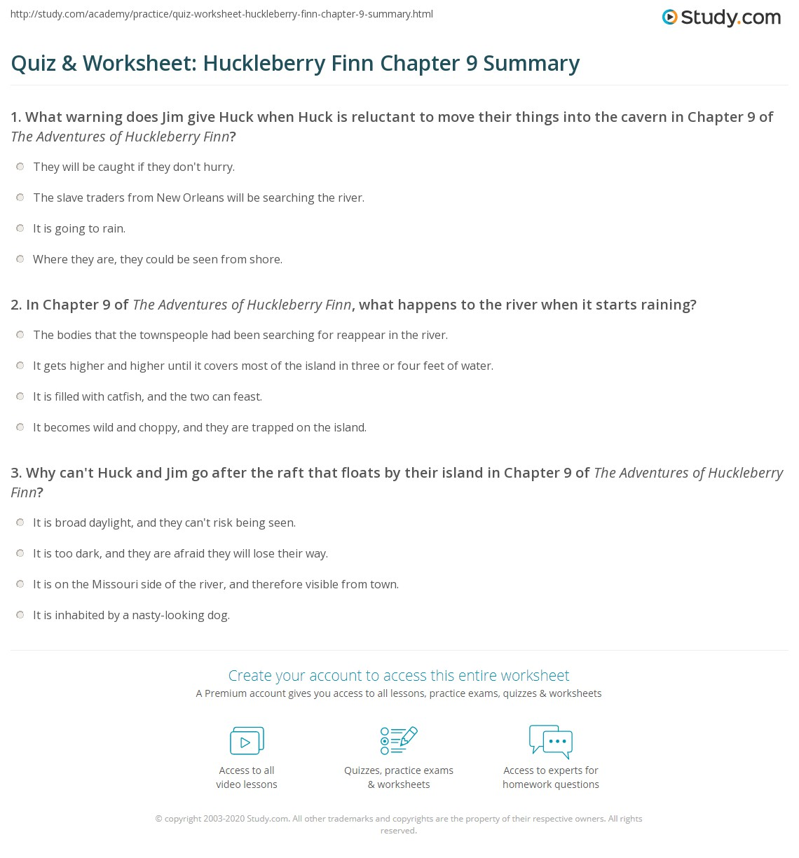 Quiz Amp Worksheet Huckleberry Finn Chapter 9 Summary