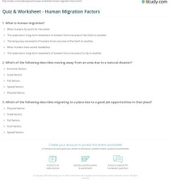 Quiz \u0026 Worksheet - Human Migration Factors   Study.com [ 1241 x 1140 Pixel ]
