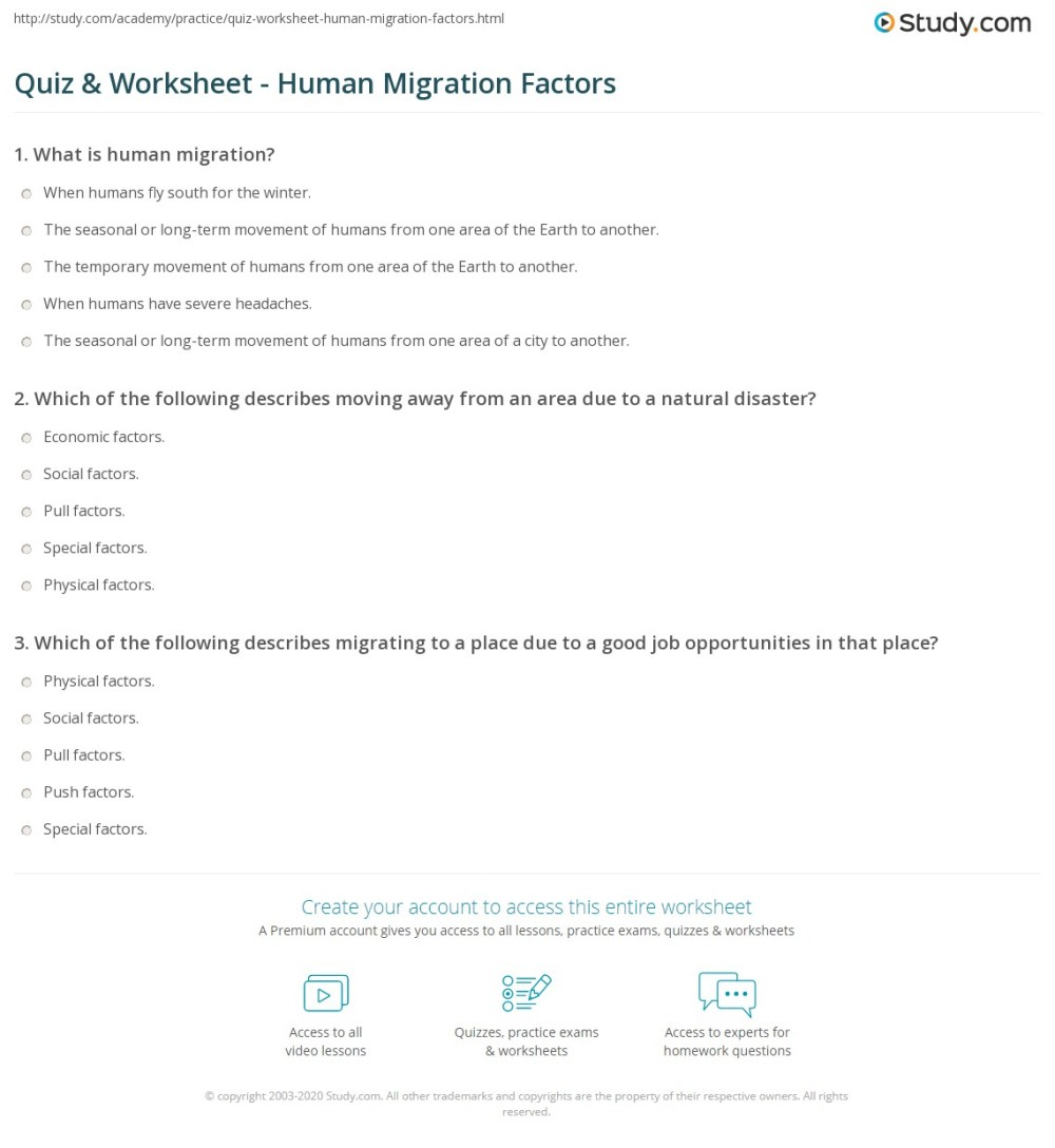 medium resolution of Quiz \u0026 Worksheet - Human Migration Factors   Study.com