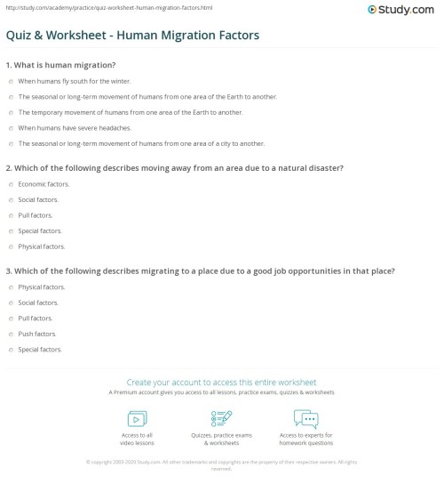 small resolution of Quiz \u0026 Worksheet - Human Migration Factors   Study.com