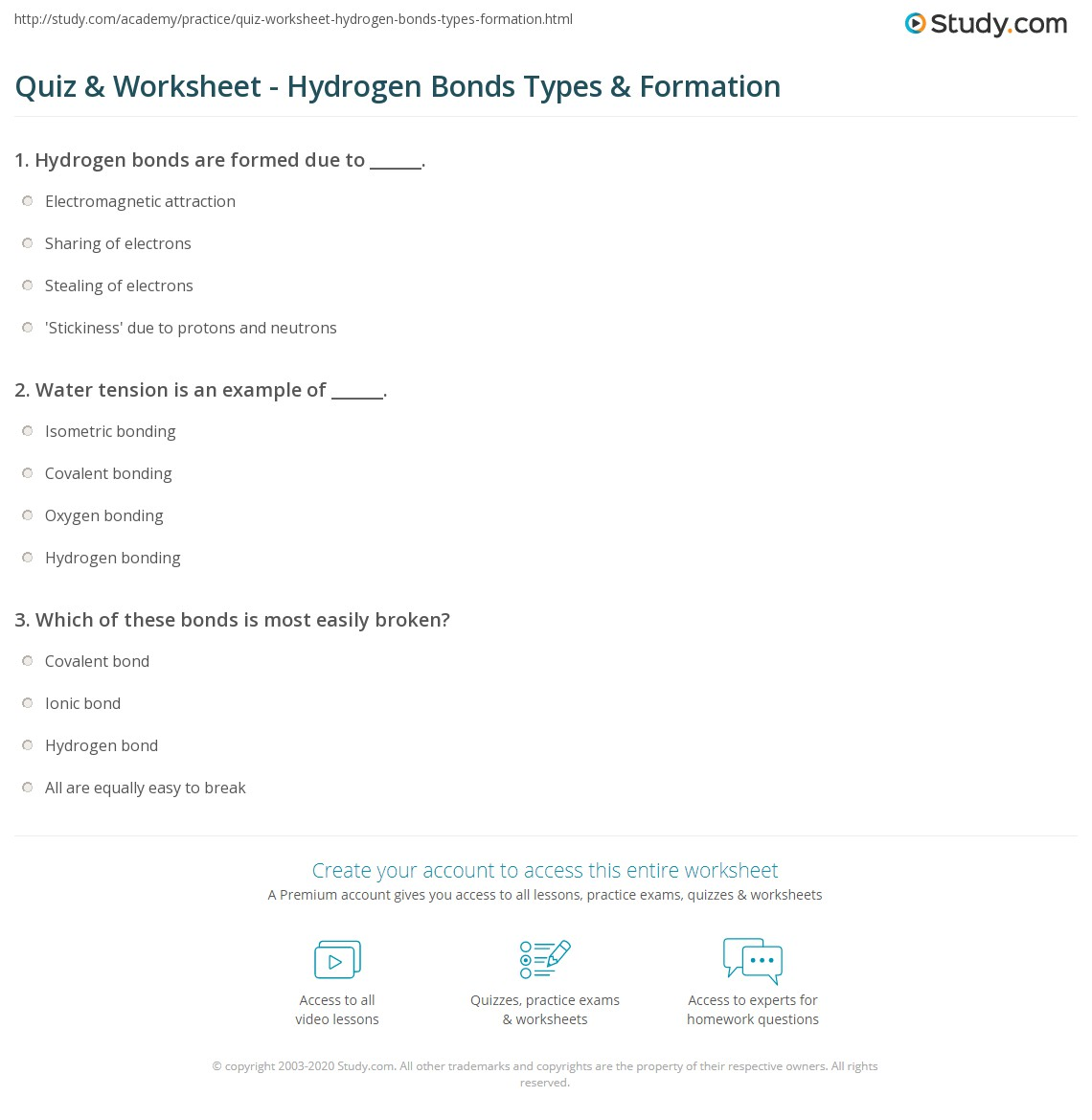 Quiz & Worksheet Hydrogen Bonds Types & Formation