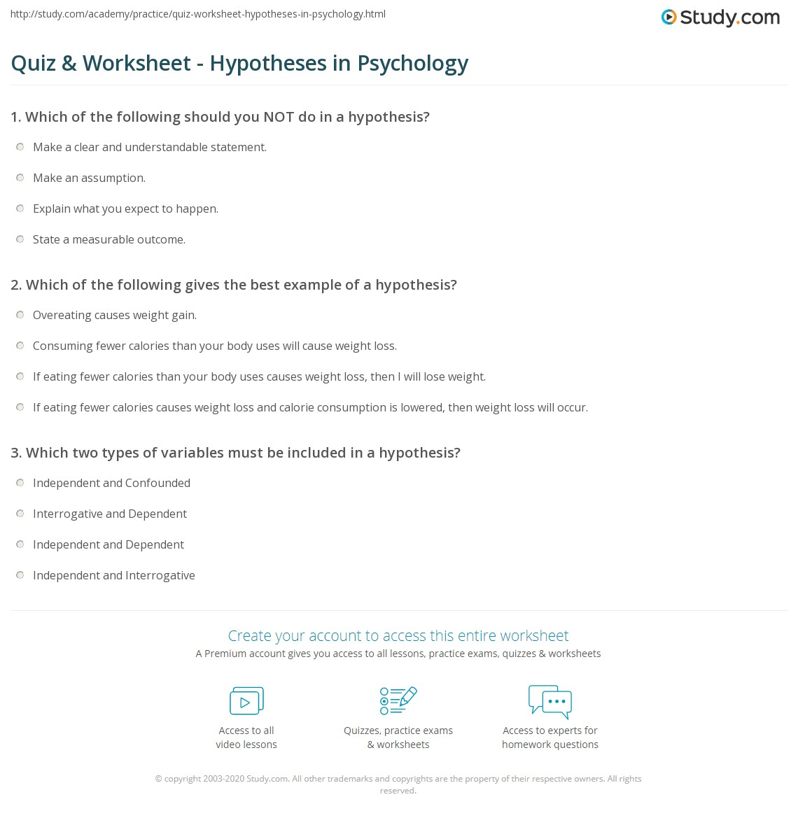Independent And Dependent Variables Worksheet Psychology