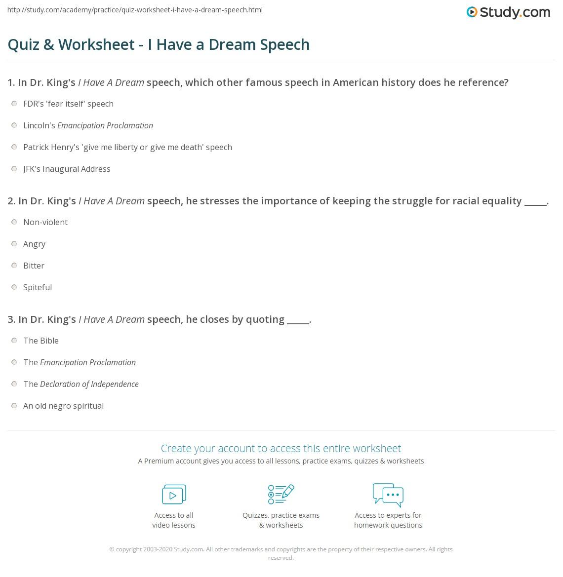 Worksheet I Have A Dream Speech Worksheet Grass Fedjp