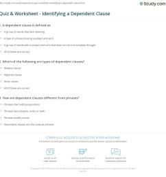 Quiz \u0026 Worksheet - Identifying a Dependent Clause   Study.com [ 1169 x 1140 Pixel ]