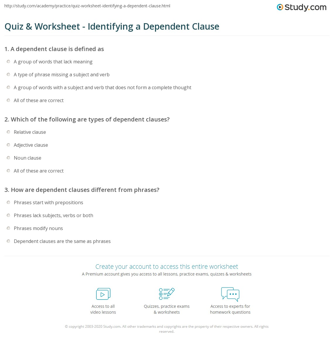 hight resolution of Quiz \u0026 Worksheet - Identifying a Dependent Clause   Study.com