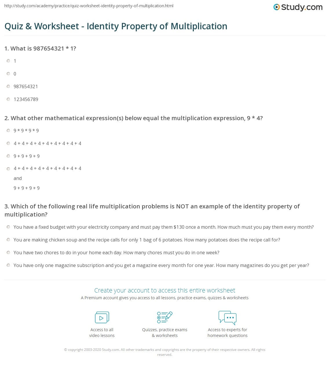 Worksheet Identity Property Of Addition Worksheets
