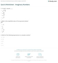 Imaginary Number Worksheet - Calleveryonedaveday