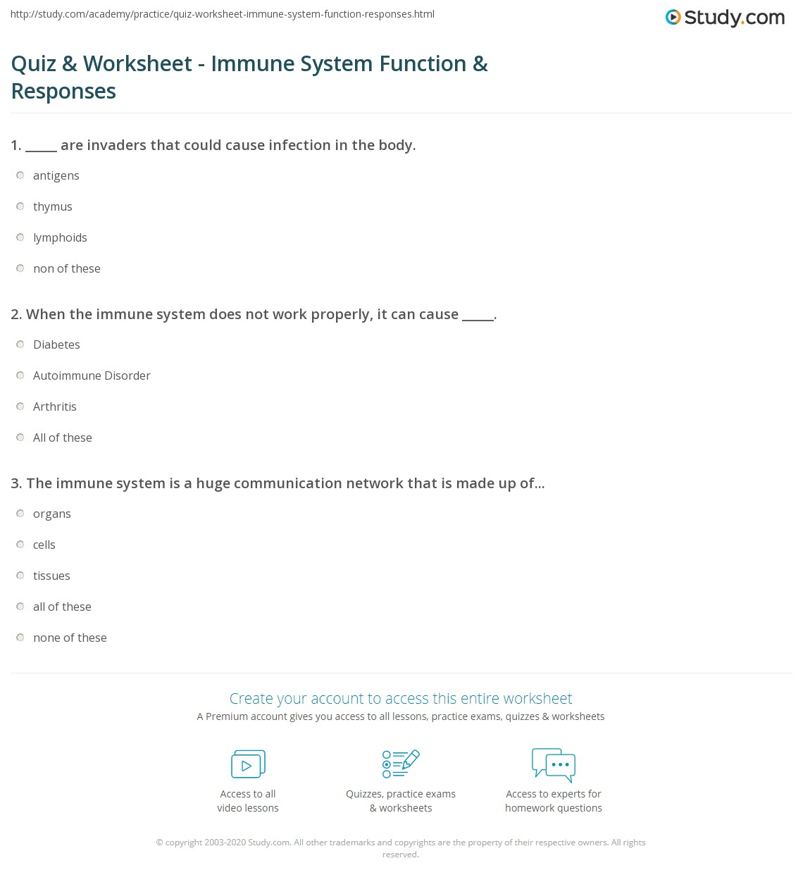 Immune System Worksheets
