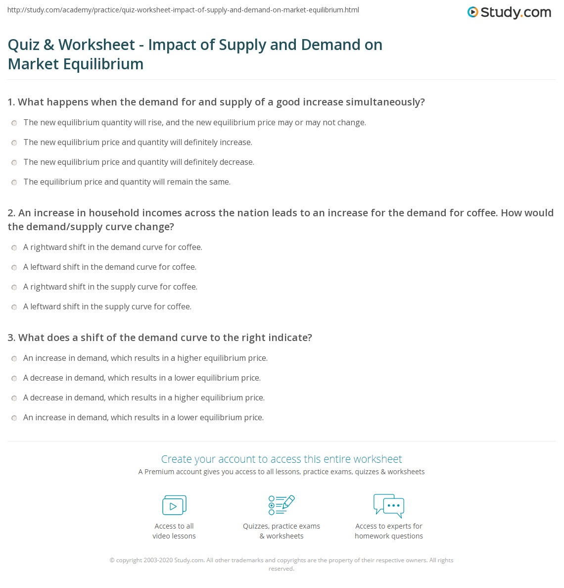 Printables Of Worksheet On Demand And Supply