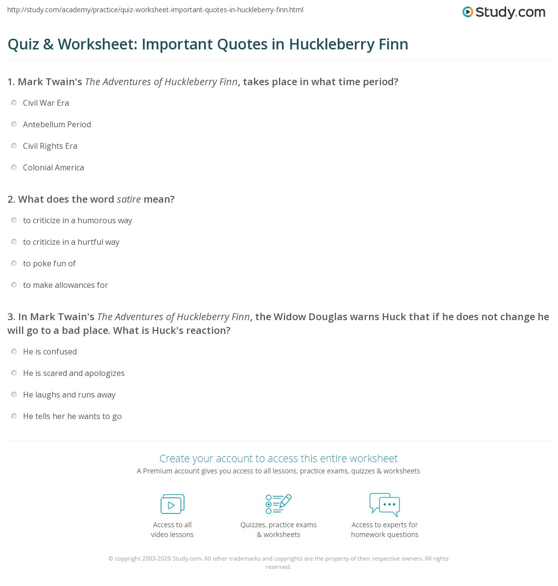Quiz Amp Worksheet Important Quotes In Huckleberry Finn