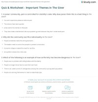 Quiz & Worksheet - Important Themes in The Giver | Study.com