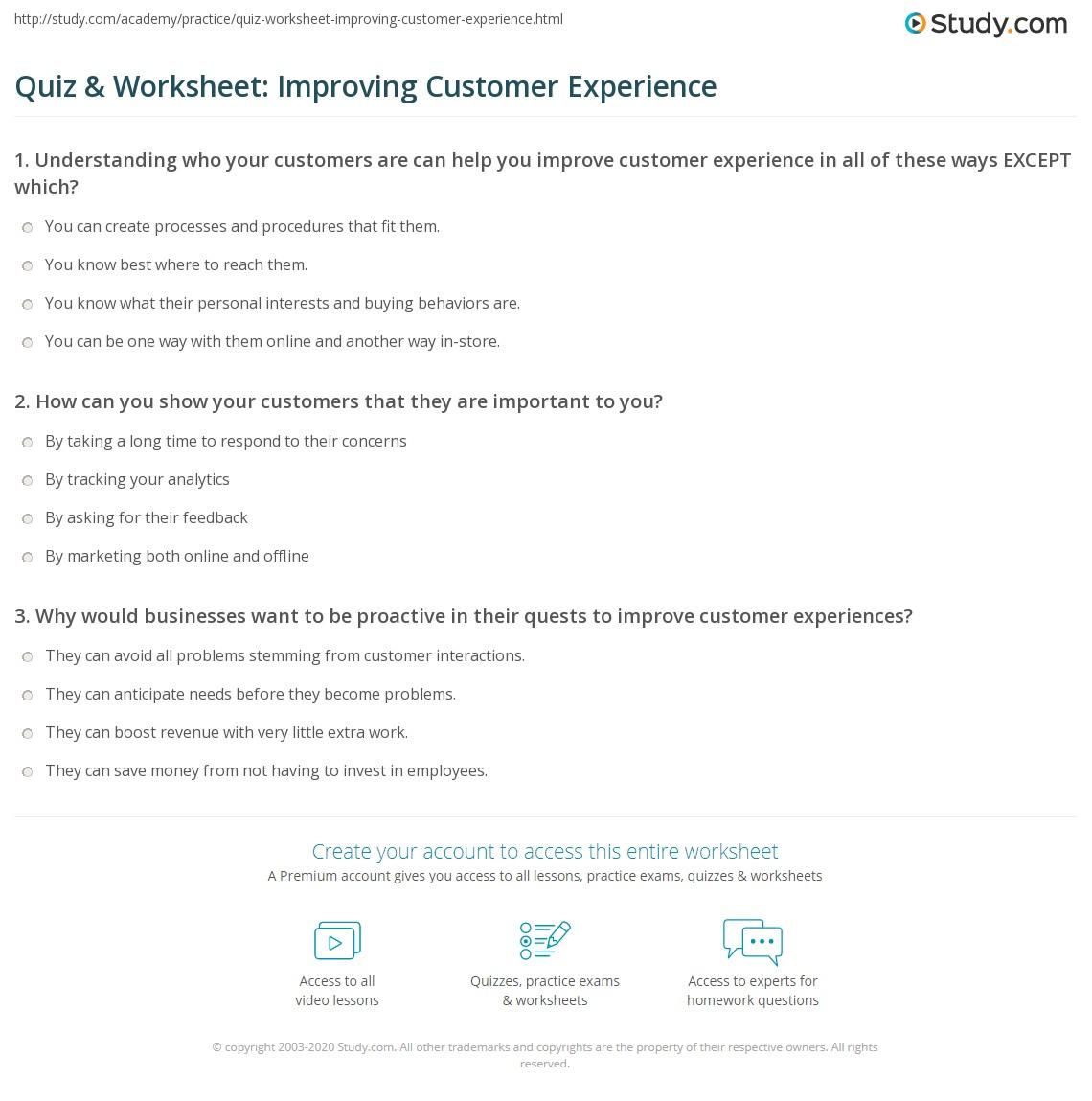 Quiz Amp Worksheet Improving Customer Experience