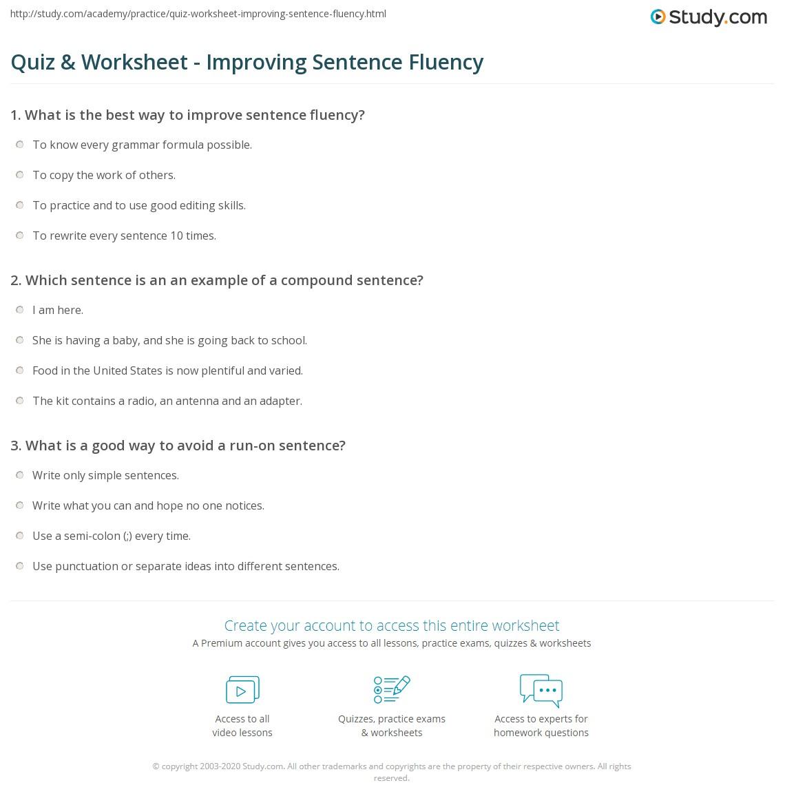 Quiz W Ksheet Improv G Sentence Fluency Study