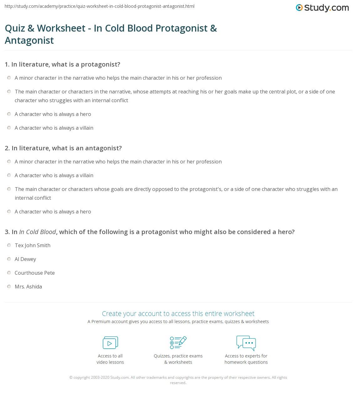 Worksheet Cold Blood