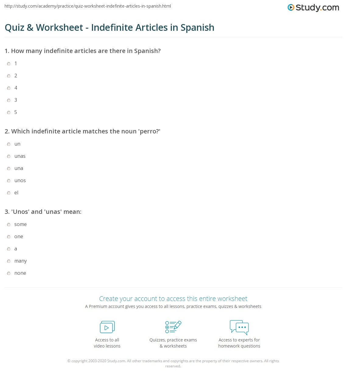 Printables Of Definite And Indefinite Articles In Spanish