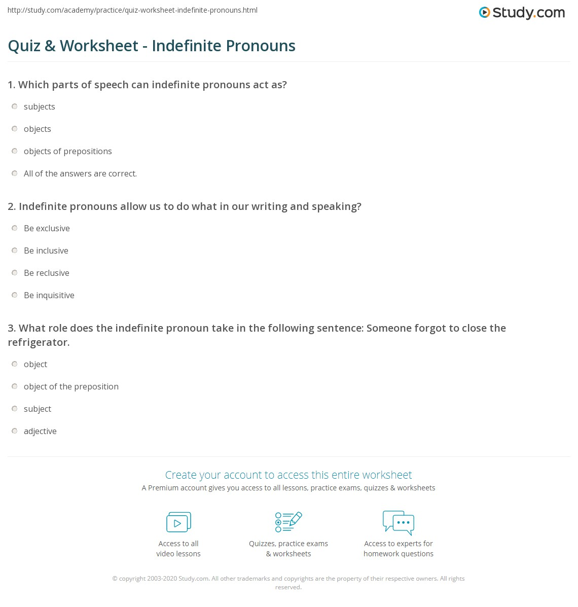 hight resolution of Indefinite Pronouns Worksheet With Answers   Printable Worksheets and  Activities for Teachers