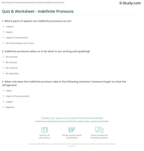 small resolution of Indefinite Pronouns Worksheet With Answers   Printable Worksheets and  Activities for Teachers