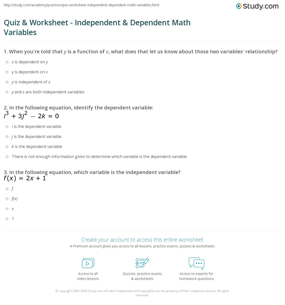 Worksheet Identifying Independent And Dependent Variables