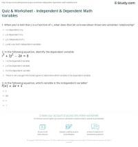 Quiz & Worksheet - Independent & Dependent Math Variables ...