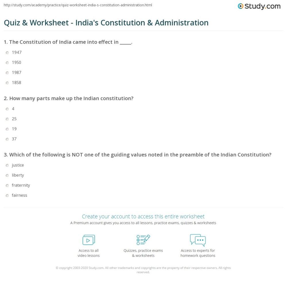 medium resolution of Quiz \u0026 Worksheet - India's Constitution \u0026 Administration   Study.com