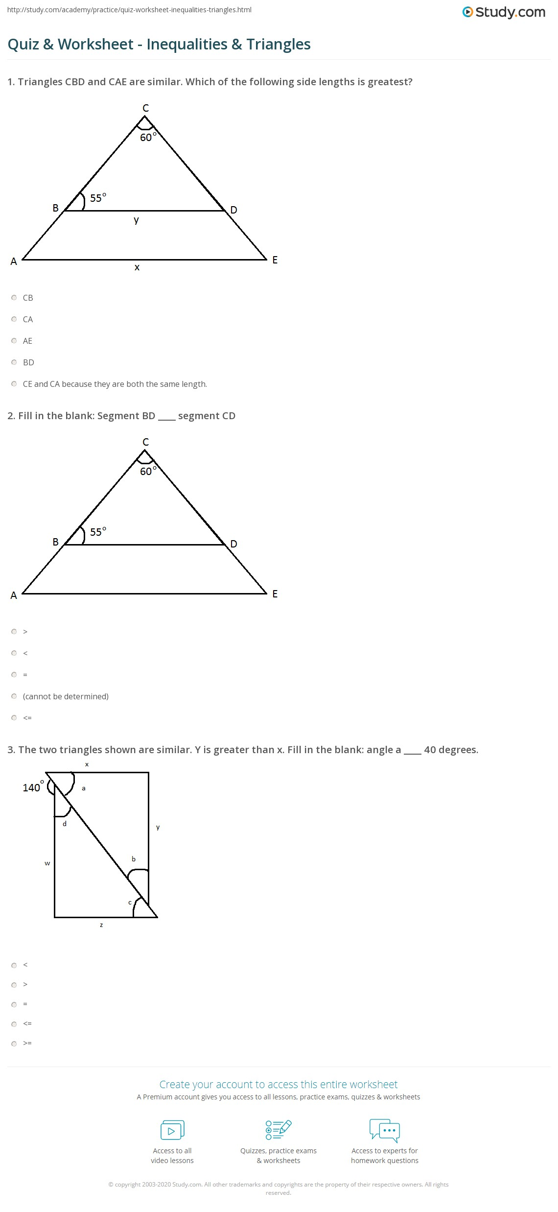 Bestseller: 5 5 Inequalities In One Triangle Worksheet Answers