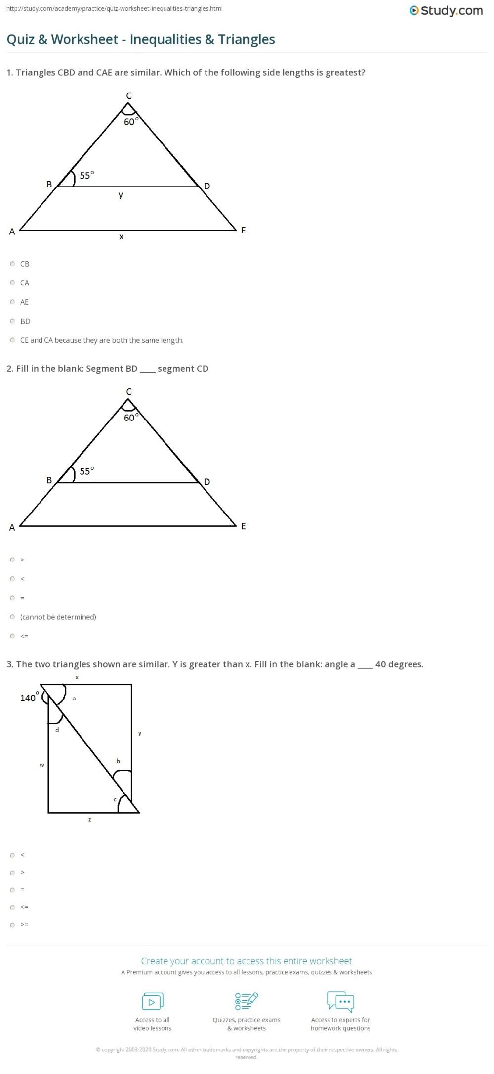 medium resolution of Quiz \u0026 Worksheet - Inequalities \u0026 Triangles   Study.com