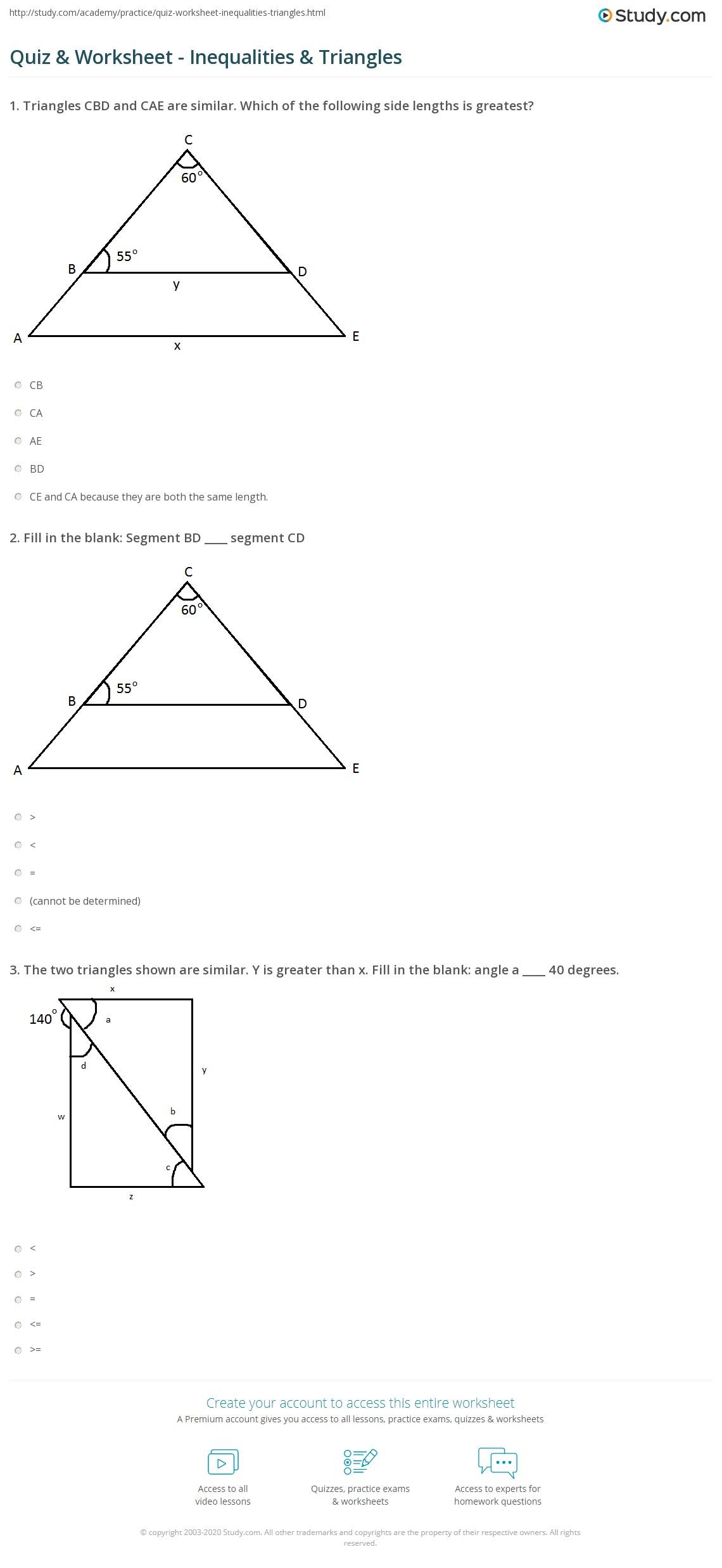 hight resolution of Quiz \u0026 Worksheet - Inequalities \u0026 Triangles   Study.com