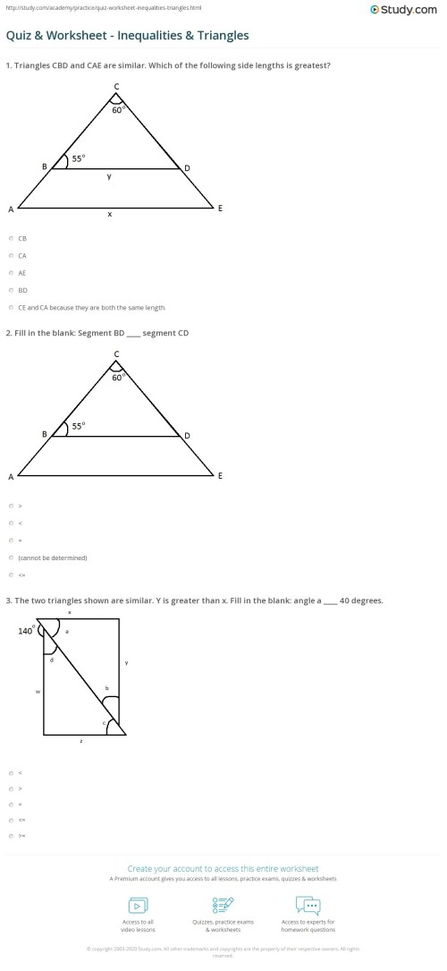 small resolution of Quiz \u0026 Worksheet - Inequalities \u0026 Triangles   Study.com