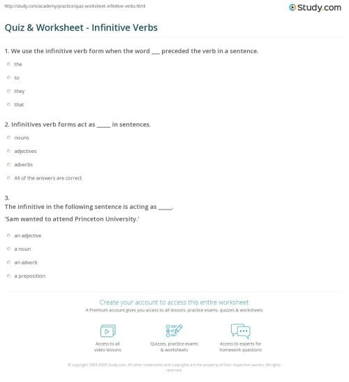 small resolution of Quiz \u0026 Worksheet - Infinitive Verbs   Study.com