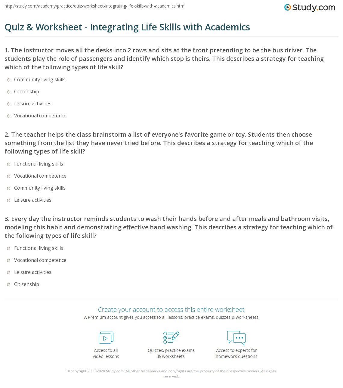 Functional Academics Worksheet
