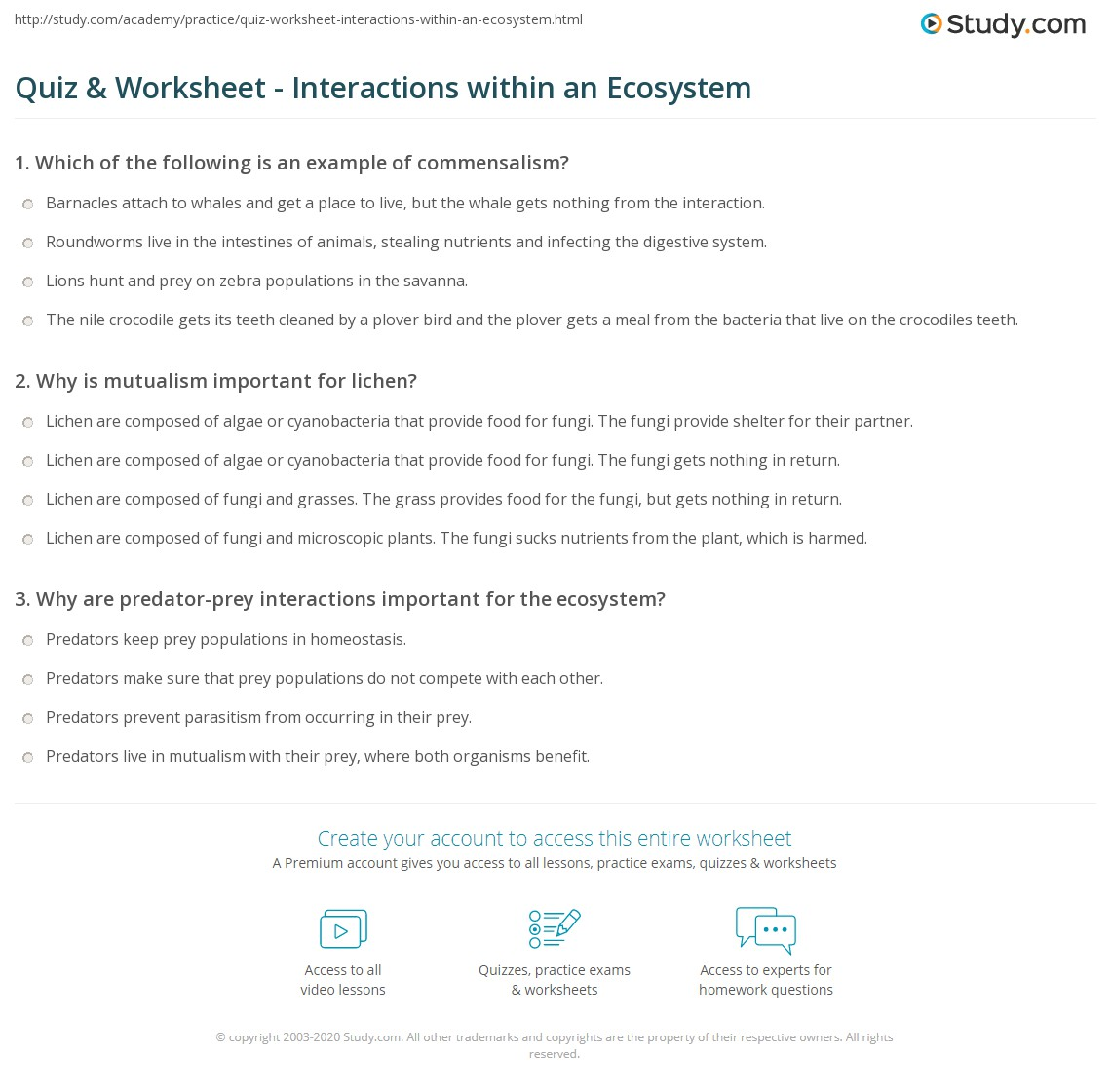 hight resolution of 32 Ecology Interactions Within The Environment Worksheet Answers - Worksheet  Project List