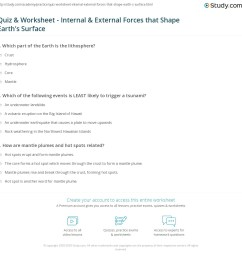 Quiz \u0026 Worksheet - Internal \u0026 External Forces that Shape Earth's Surface    Study.com [ 1160 x 1140 Pixel ]
